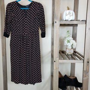 Club Monaco Keyhole Circle Dot 3/4 Sleeve Dress